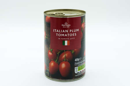 Irvine, Scotland, UK - March 08, 2020: Morrisons Italian Plum Tomatoes in recyclable tin can and ring pull lid. Italian flag displayed on front of label.