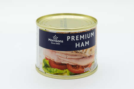 Irvine, Scotland, UK - March 08, 2020: Morrisons branded Premium ham in recyclable tin can and recyclable tin lid.
