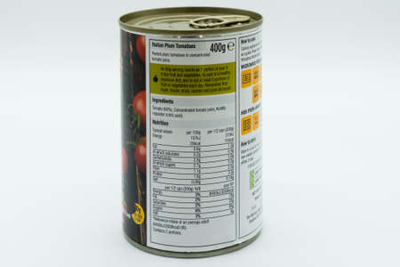 Irvine, Scotland, UK - March 08, 2020: Morrisons Italian Plum Tomatoes in recyclable tin can and ring pull lid. Label displaying nutritional information and 'e' symbol,