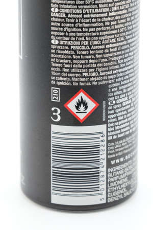Irvine, Scotland, UK - January 09, 2021: David Beckham branded deodorant spray in a recyclable metal container and plastic lid. Displaying triangular fire symbol. 新闻类图片