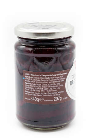 Irvine, Scotland, UK - January 09, 2021: Baxters branded crinkled beetroot in a recyclable glass jar and metal lid. Label containing calorific content and weighted symbols.