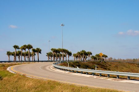 guardrails: Interstate on ramp in Wesley Chapel, Florida