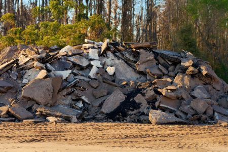 Large pile of road debris Stock Photo
