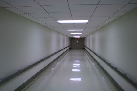 Long empty hallway in an office building