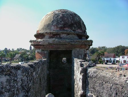 Spanish style turret on one of the bastions on Castillo San Marco, in St Augustine, FL Imagens