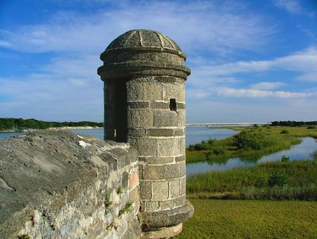 Spanish defensive turret on bastion of Ft Matanzas in St Augustine, Florida Stock Photo