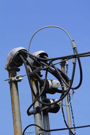 Wires entering a building via conduit hoods