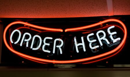 order here: Hot Dog! Order here neon sign