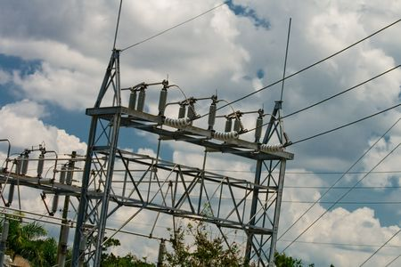 inclement: Power lines coming into a sub station tower Stock Photo