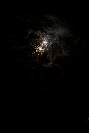 Flash bang shells showing against the night sky Stock Photo - 1358281