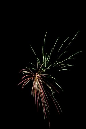 newyears: Red and Green bursts in night sky