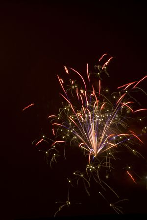 Firey Red burst with blue sparks flying upwards Stock Photo - 1358302