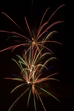 Three bird of paradise firework blasts in the night sky photo