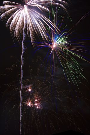 Night sky erupts into  firey chaos with flashes, sparks, and trails Stock Photo - 1358330