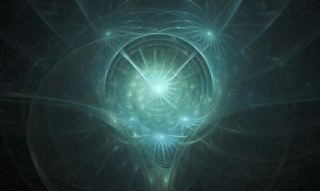 精神の頭を旋回うっすら青みがかったグリーン フラクタル 写真素材