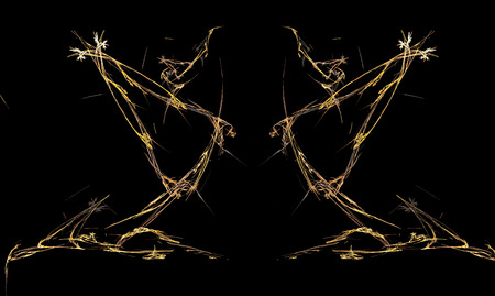 outstretched: Pair of fractal dancers with arms outstretched