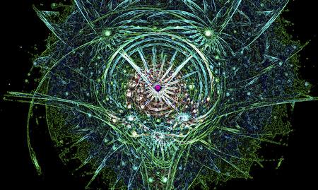 daemon: Neon glowing blueish green fractal swirling spirit head Stock Photo
