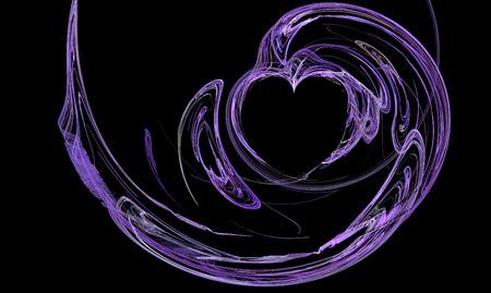 Purple fractal heart swirling lines on black Reklamní fotografie