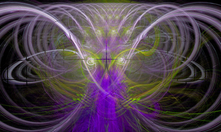 magick: Fractal flame that suggests the form of a powerful wizard casting a spell Stock Photo