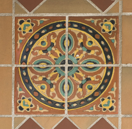 Colorful spanish painted tiles with interesting designs