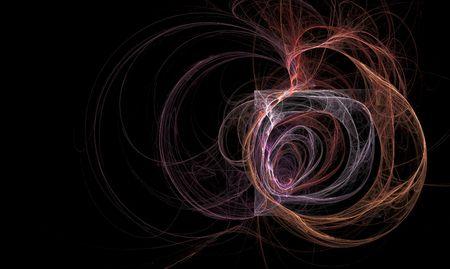 wisps: Ear like fractal inside of box surounded by firey wisps