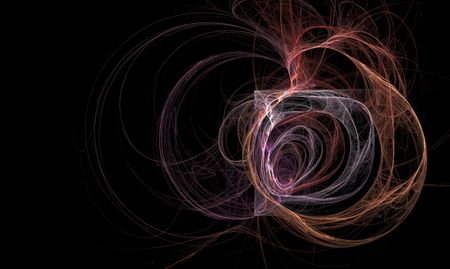 Oor als fractaal binnenkant van vak omgeven door firey wisps