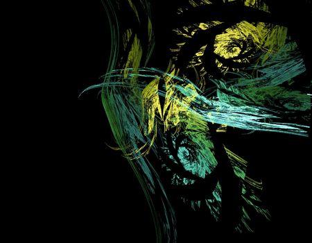apophysis: Green, yellow,  and blue fractal pattern