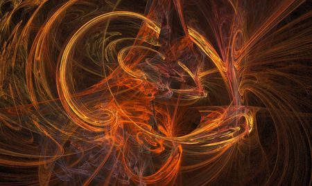 chaos: Vibrant red firey swirling chaos fractal