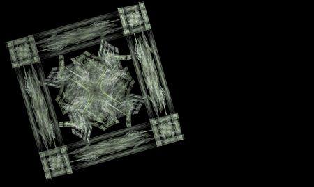 Fractal sneeuwvlokken scheppen van een kader rond een fractale sneeuwvlok Stockfoto