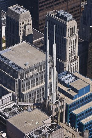 View of nearby building antennas from a taller building Stock Photo