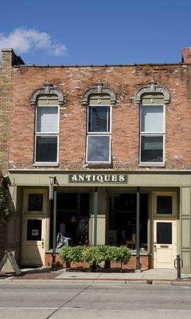 Antique shop facade in an old building