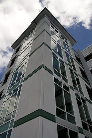 Exterior view of an elevator tower on a parking garage