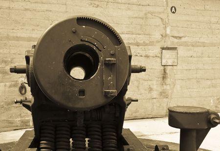 breech: Sepia toned, grainy, breech of a heavy rifle  cannon Stock Photo