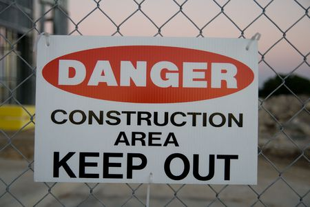 Danger construction area keep out sign photo