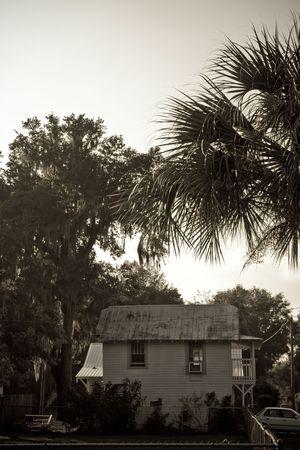 weather beaten: Granulosa seppia vista di una rovina vecchia casa di campagna