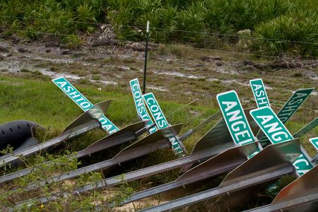 Street signs laying in a pile in a new development Stock Photo - 2512989