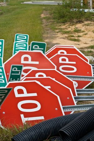 Stop signs piled up on a construction site Stock Photo - 2512987