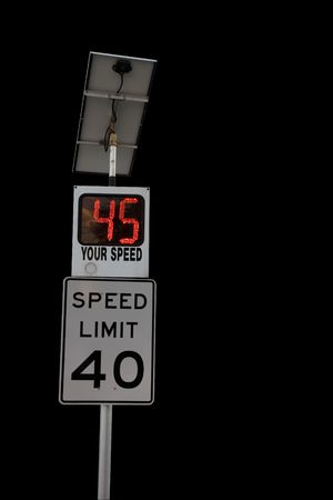 Speed limit sign with radar speed detection 스톡 콘텐츠