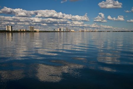 mid afternoon: Mid afternoon view of Old Tampa Bay with some clouds