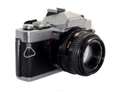 使用頻度、少し汚れたと白い背景を持つ:beatup 一眼レフ カメラ