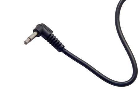 sync: End of a flash sync pc cord on white background