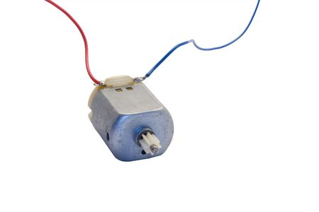 electric current: Direct Current - DC - Electric motor with wires against white background