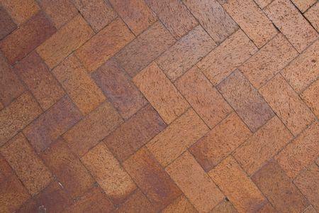 Brick pavers arranged in a chevron pattern