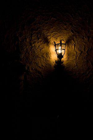 wall sconce: Dim Estilo Antiguo Antorcha Sconce en Dark Room, que ilumina s�lo una peque�a cantidad de pared. Niza zona para copiar el espacio