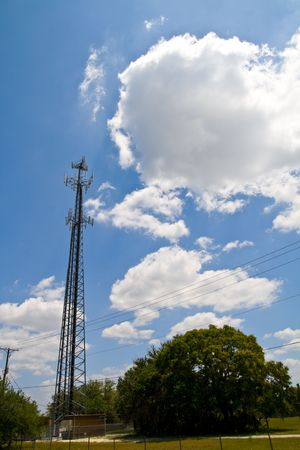 Cell antenna tower with nice sky background Banco de Imagens