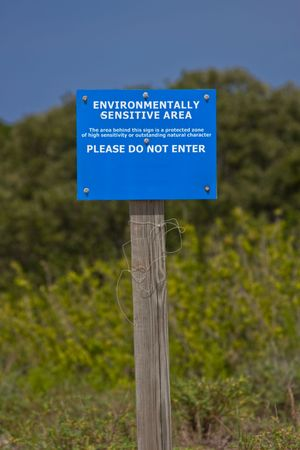 Sign prohibiting access to an environmentally protected area