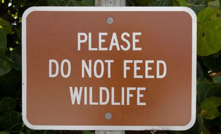 Sign warning not to feed the wild life photo