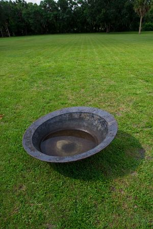Antique steel large bowl for catching pressed sugar cane juice