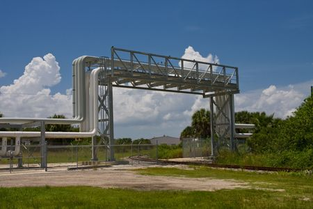 Angle view of an industrial pipe overpass Stock Photo