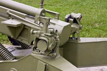 Closeup of the breech on a cannon  large gun